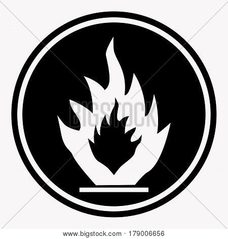 Flammable caution sign with fire symbol. Warning or danger precaution vector isolated icon or label