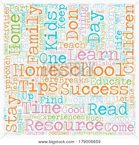 Simple Homeschool Success Tips text background wordcloud concept