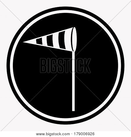 Attention side wind caution sign with crosswind flag symbol. Warning or danger precaution vector isolated icon or label