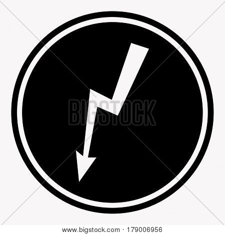 High voltage danger warning sign with electric hazard symbol. Caution vector isolated icon or label