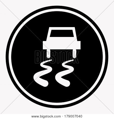 Slippery road traffic warning sign with car on icy track symbol. Caution vector isolated icon or label