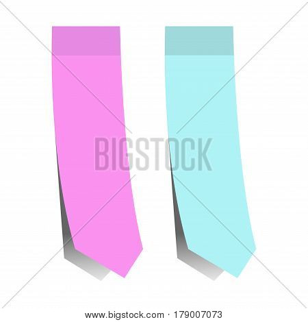 Stickers and sticky bookmarks vector isolated icons set with shadow on white background