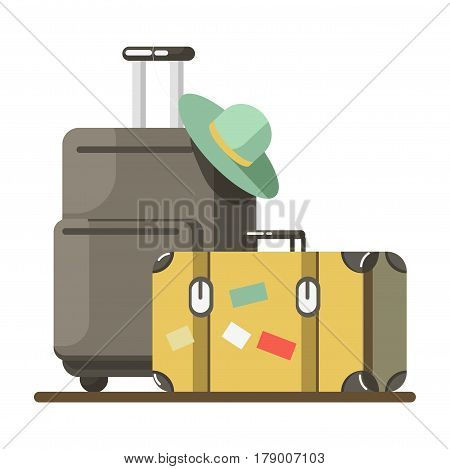 Summer travel and holiday vacation vector flat icon. Traveler backpack and suitcase or trolley bag luggage