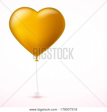 Bright yellow heart, the inflatable balloon in the shape of a realistic, big heart with tape, ribbon. Greeting card for your friends, loved ones with a bouncy ball in form heart on white background.