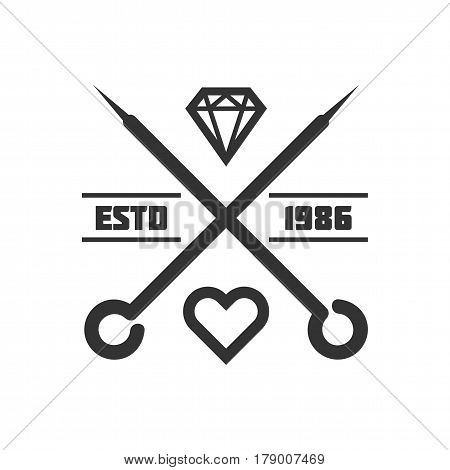 Tattoo master studio or salon vector logo template. Isolated icon of needles, heart and diamond gem