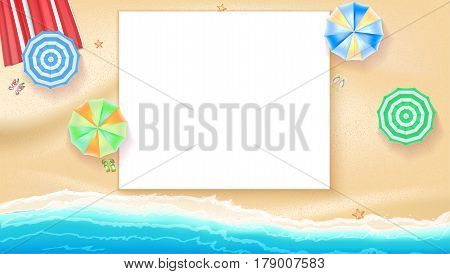 Set of colorful beach sun umbrellas flip-flops and beach Mat on the background of sand near the sea surf and starfish, top view. Summer beach background with place for your message