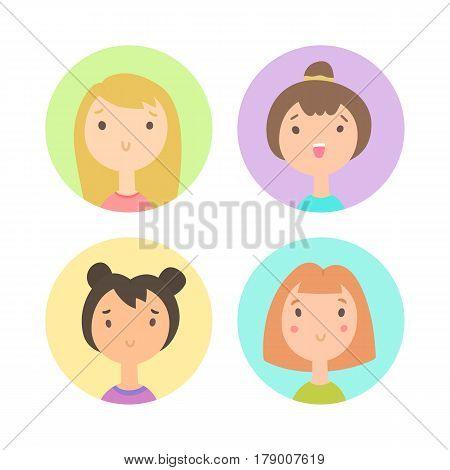 Set of four girls faces. Vector hand drawn cartoon illustration