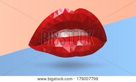 Women seductive scarlet lips made from triangle polygons. Vector abstract bright geometric illustration on colored background. Red open mouth with white teeth