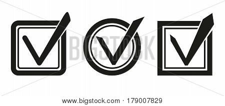 Check List Icon. Check Mark In Round, Square With Rounded Corners, Square Sign. Clip Art. Stock Vect