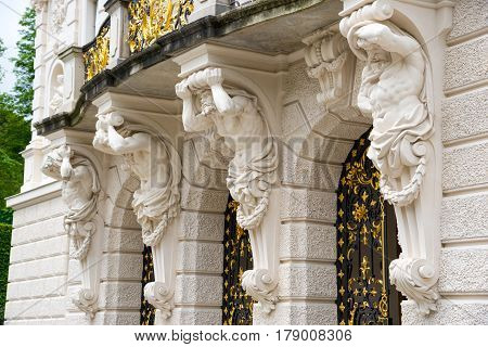 Atlas Sculpture Supporting Balcony Of Main Building. Linderhof Palace.