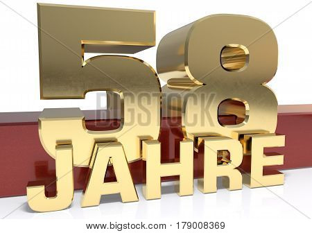 Golden digit fifty eight and the word of the year. Translated from the German - years.3D illustration