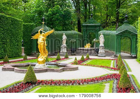 Fountain Angel In The Side Garden Of The Linderhof Palace.