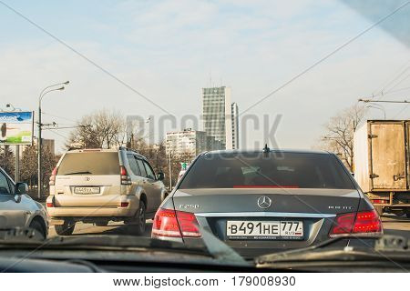 Cars On The Street Of The City Through The Glass Of The Car Window In Moscow In 2017