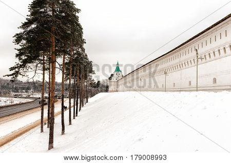 New Jerusalem monastery, Istra, Russia the fortress wall and observation tower in winter