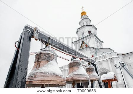 New Jerusalem monastery, Istra, Russia, the bells and belfry in winter horizontal