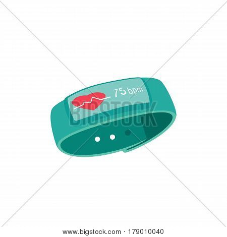 Fitness band with pulse review screen. Freehand drawn style. Heart rate measure smart watch display. Vector active lifestyle devise symbol. Sport bracelet tracker pedometer sign on white background