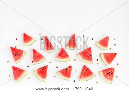Watermelon. Sliced watermelon on white background. Flat lay top view