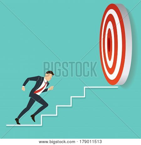 businessman running to target archery. business concept vector