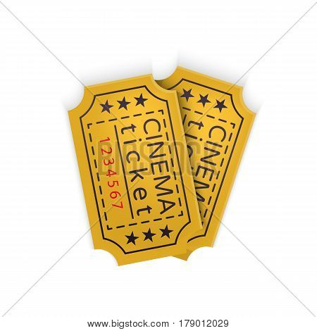Cinema ticket in retro style isolated on white background Vector Illustration. Ticket pass to the movie theater in fun cinematograph for your projects.