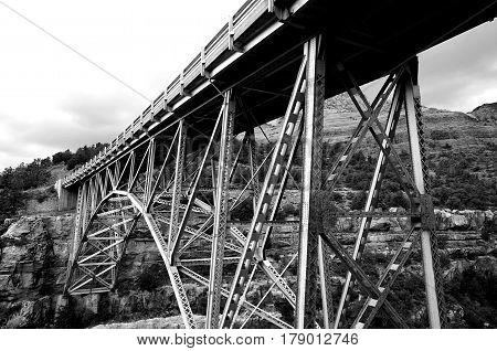 A monochrome image of Midgley Bridge in Sedona Arizona.
