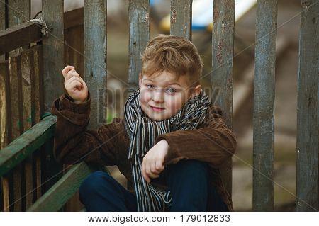 stylized portrait of a boy in retro style .