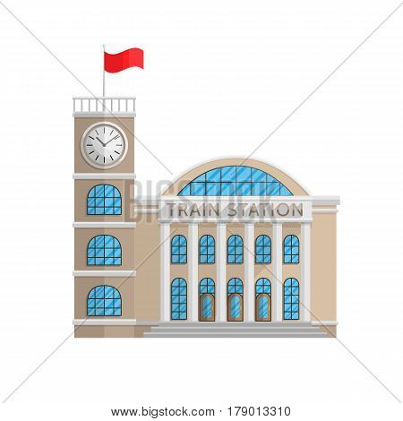 Train station building in Flat style isolated on white background Vector Illustration. Railway station transport train locomotive, passenger travel tourism, commuter rail distant for your projects.