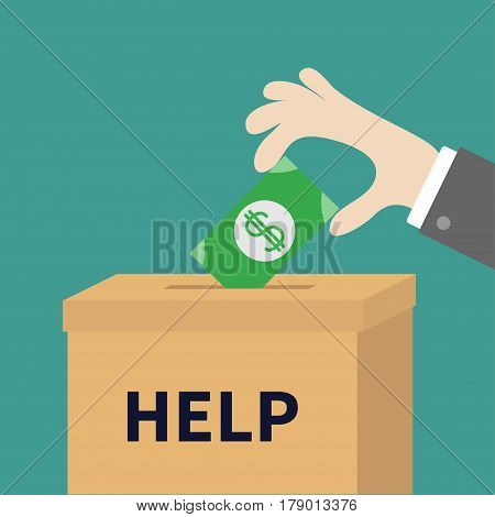 Human hand putting paper money bill with dollar sign into donation paper cardboard box. Helping hands concept. Help and donate. Flat design style. Green background. Vector illustration.