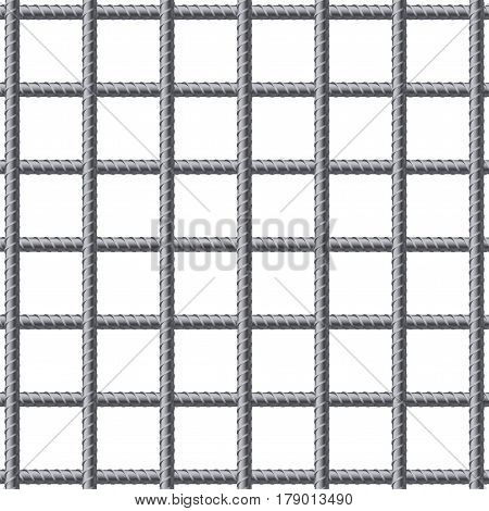 Lattice of fitting. Reinforcement steel for building. Industrial illustration Isolated on white background.