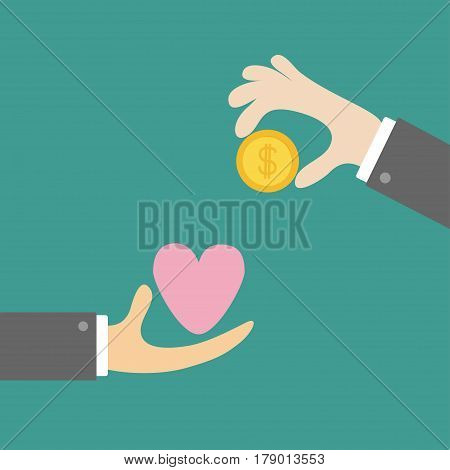 Hands with heart and money gold dollar coin. Exchanging concept. Selling love symbol. Business icon set. Flat design style. Green background. Vector illustration.
