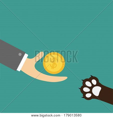 Hand giving golden coin money with dollar sign. Dog cat paw print taking gift. Helping hand concept. Adopt donate help love pet animal. Flat design style. Green background. Vector illustration.