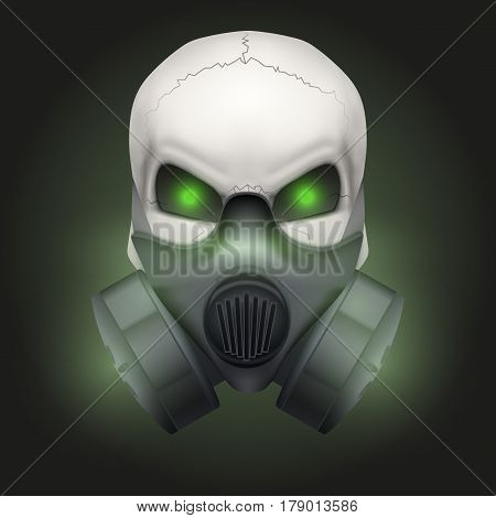 Human skull with gas mask. Chemical industry. Party poster.  isolated on dark background.