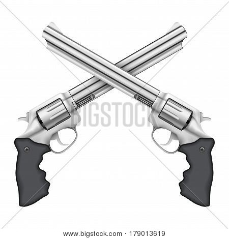 Cross of Big Silver Revolvers. Symbol of power and defense. Illustration isolated on white background.