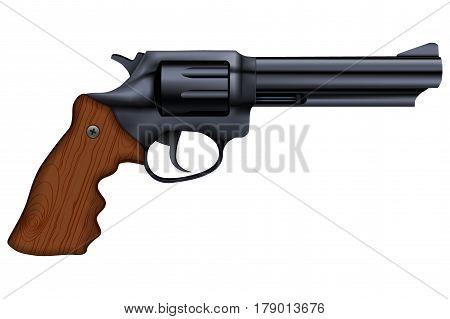 Big Revolver. Black gun metal. Illustration isolated on white background.