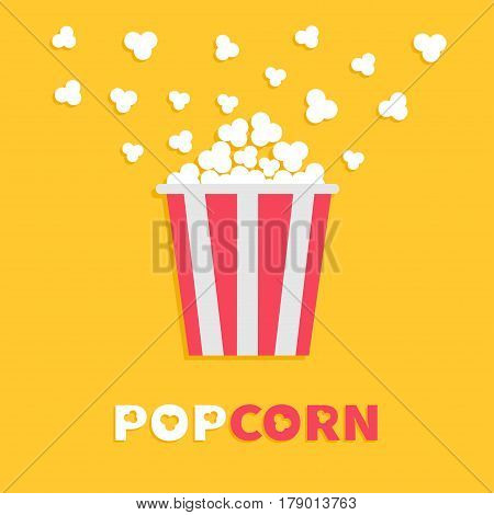 Popcorn popping. Red yellow strip box package. Cinema movie night icon in flat design style. Fast food. Yellow background Red white text. Vector illustration