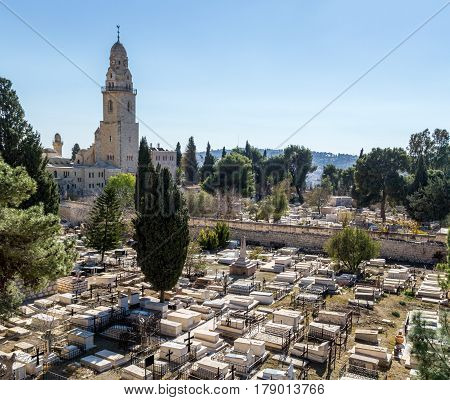 View of the Dormition Abbey and the old cemetery from the wall of the Old City of Jerusalem Israel