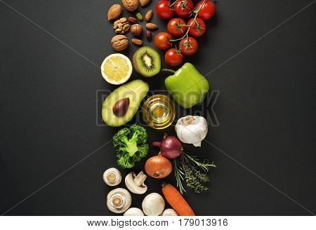 Selection of healthy food with vegetables and fruits. Healthy diet foods for heart cholesterol and diabetes