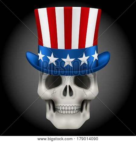 Human skull with Uncle Sam hat on head. USA Art Illustration isolated on background