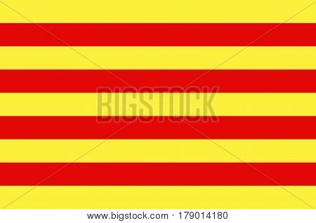 Flag of Pyrenees-Orientales is a department of southern France adjacent to the northern Spanish frontier and the Mediterranean Sea. Vector illustration