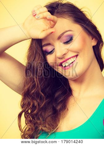 Portrait, Young Woman Wearing Colorful Makeup And Blue Top