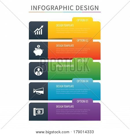 Infographics tab index 5 option template. Vector illustration background. Can be used for workflow layout data business step banner web design.