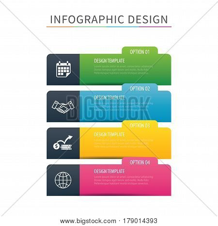 Infographics tab index 4 option template. Vector illustration background. Can be used for workflow layout data business step banner web design.