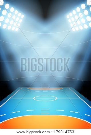 Vertical Background for posters night handball arena in the spotlight.   Illustration.