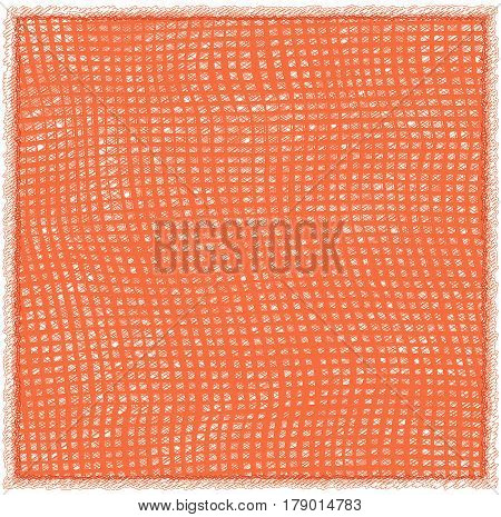 Table napkin with woven grunge striped checkered pattern and fringe in orange colors isolated on white
