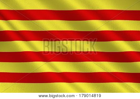 Flag of Pyrenees-Orientales is a department of southern France adjacent to the northern Spanish frontier and the Mediterranean Sea. 3d illustration