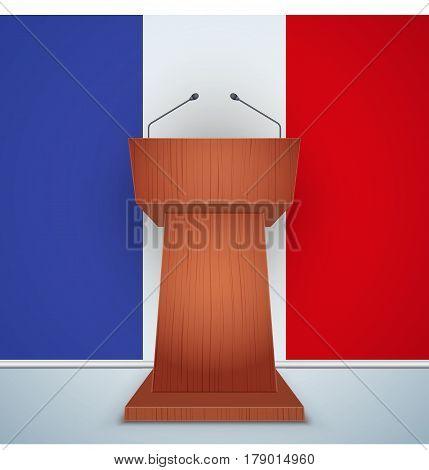 Wooden Podium Speaker Tribune with French flag on background. Symbol of Election 2017 in France.  Illustration