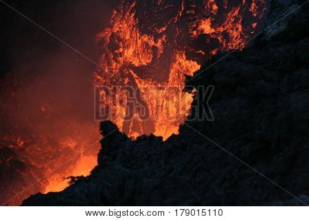 Eruption Etna vulcan lava magma in Sicily