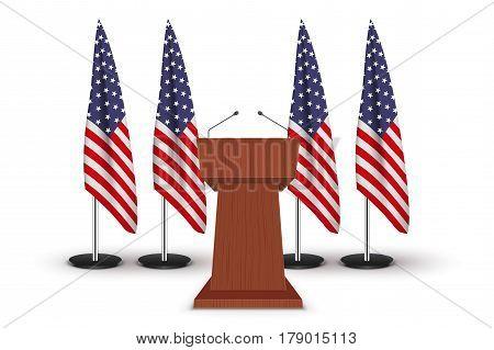 Wooden Podium Speaker Tribune with United States flags on background. US Election 2016 symbol. Politics Illustration Isolated