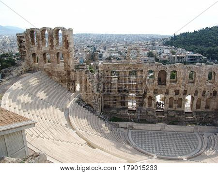 archeological ruins of a theather in Athens greece