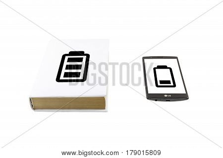 Book Vs Phone. Battery Life Concept.