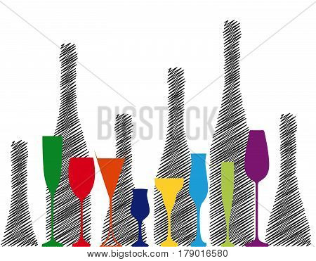 Wine bottle and glass.Alcoholic Bar Menu.Design for Party.Template for Cocktail Card.Wine List Placard.Suitable for Poster.Wine Vector.Background Bottle Ilustration.